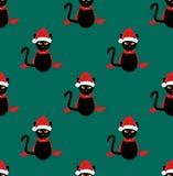 Шляпа Санты черного кота безшовная на зеленой предпосылке Teal также вектор иллюстрации притяжки corel иллюстрация штока