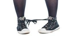 Шнурки ботинка связали совместно проказу Стоковые Изображения