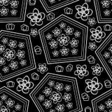 Шнурк-цветки Plumeria в предпосылке картины повторения цветеня безшовной в черно-белом иллюстрация штока