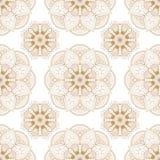 Шнурок безшовного коричневого цвета картины mehndi бежевый флористический деталей украшения buta на белой предпосылке иллюстрация штока