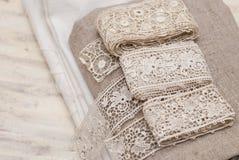 Шнурок и ткань Стоковые Изображения