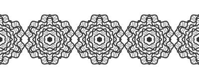 шнурок черный силуэт Безшовная картина круглого орнамента снежинки вектор Стоковое Изображение RF
