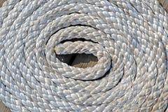 Шнур белого моря на деревянной поверхности, круглой большой части стоковые фото