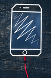 Шнур наушников с большим телефоном Стоковые Изображения