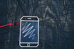 Шнур наушников с телефоном, горизонтальным Стоковые Изображения