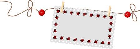 шнур ladybug ярлыка Стоковые Фотографии RF