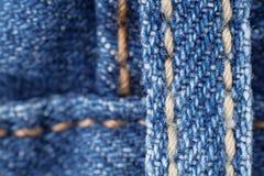шов макроса голубых джинсов Стоковые Фото