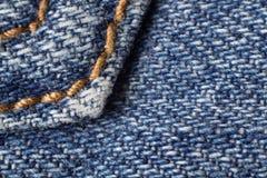 шов макроса голубых джинсов Стоковое Фото