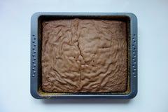 Шоколадный торт в печь лотке, взгляд сверху рождества стоковое изображение rf