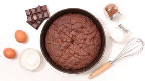 Шоколадный торт и ингридиент Стоковые Изображения RF