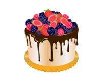 Шоколадный торт покрыл со свежими фруктами стоковые фотографии rf
