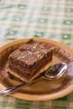 Шоколадный торт с красочным брызгает на плите Стоковые Фото