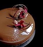 Шоколадный торт с лепестками гвоздики, спиралью шоколада и поливой зеркала стоковое изображение