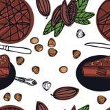 Шоколадный торт vegan собрания еды очень вкусный сырцовый с картиной бобов кака фундуков безшовной Стоковые Изображения