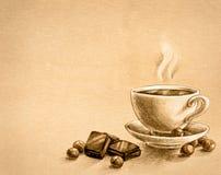 Шоколад, гайки и чашек чаю Стоковая Фотография RF