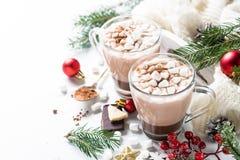 Шоколад или какао рождества горячий с зефиром Стоковая Фотография RF