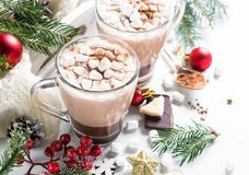 Шоколад или какао рождества горячий с зефиром Стоковые Изображения