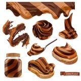Шоколад и арахисовое масло набор значка вектора 3d реалистический иллюстрация вектора