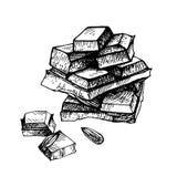 Шоколад нарисованный рукой Вручите вычерченный шоколадный батончик сломанный в части Стоковые Изображения RF