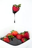 шоколад окунул клубнику Стоковое Изображение