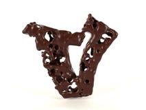 Шоколад письма v форменный жидкостный вязкостный стоковая фотография rf
