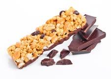 Шоколад темноты бара энергии хлопьев протеина шоколада Стоковое фото RF