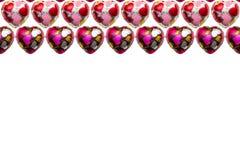 Шоколад в форме сердц на белой предпосылке Стоковая Фотография RF
