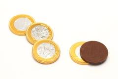 Шоколад евро обернутый в фольге металла Стоковые Изображения
