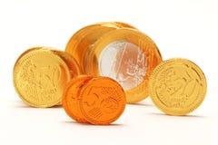 Шоколад евро обернутый в фольге металла Стоковые Фото