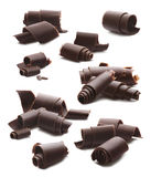Шоколад завивает большой комплект на белизне Стоковые Фото
