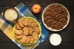 Шоколад и печенья овсяной каши Яблока Стоковое Изображение