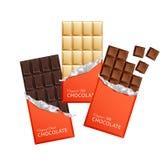 Шоколадные батончики конфеты темноты и молока в винтажных оболочках бара Стоковая Фотография RF