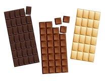 Шоколадные батончики конфеты темноты и молока иллюстрация вектора
