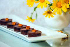 Шоколадные торты части малые Стоковые Изображения