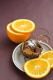 Шоколадный торт и апельсин Стоковое фото RF