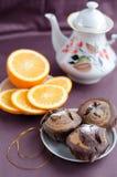 Шоколадный торт и апельсин Стоковая Фотография