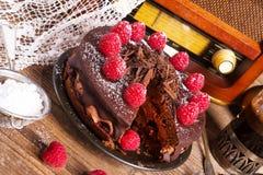 Шоколадный торт и турецкий кофе - винтажный стиль Стоковое Изображение RF