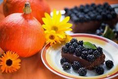 Шоколадный торт на благодарение и хеллоуин праздника Стоковое фото RF