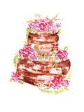 Шоколадный торт свадьбы акварели с розовыми цветками и листьями на белой предпосылке также вектор иллюстрации притяжки corel Стоковые Изображения
