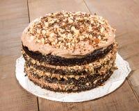 Шоколадный торт с замораживать и отбензиниванием фундука Стоковое Фото
