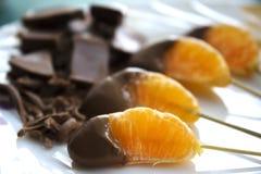 Шоколад покрыл tangerine Стоковые Фотографии RF
