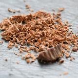 Шоколад при гайки заскрежетанные на терке Стоковые Изображения