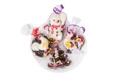 Шоколад рождества на белой плите Стоковое Изображение RF