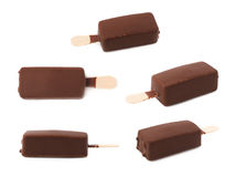 шоколад штанги покрыл cream ваниль льда Стоковые Фото