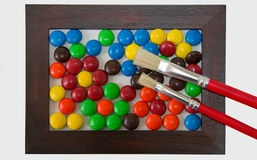 Шоколады круга в рамке Брайна с красить b Стоковое Фото