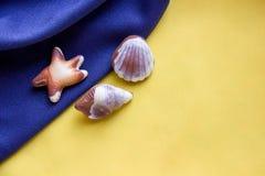Шоколады Seashells на голубой и желтой ткани Стоковые Изображения