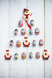 Шоколад Santas, снеговик и печенья кладя в форме Криса Стоковые Изображения RF