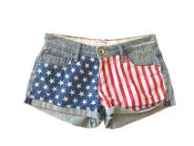 Шорты джинсовой ткани, звезда & бары, флаг Americam Стоковое Фото