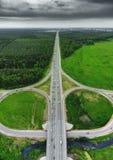 Шоссе дороги, взгляд сверху трутня воздушный стоковое фото rf