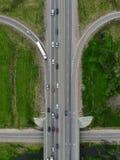 Шоссе дороги, взгляд сверху трутня воздушный стоковая фотография